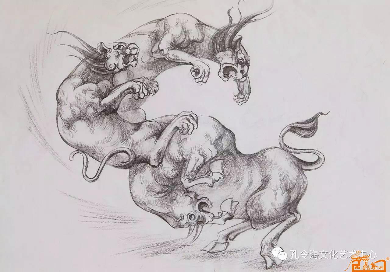 名家 孔令海 国画 - 手绘动物图稿6